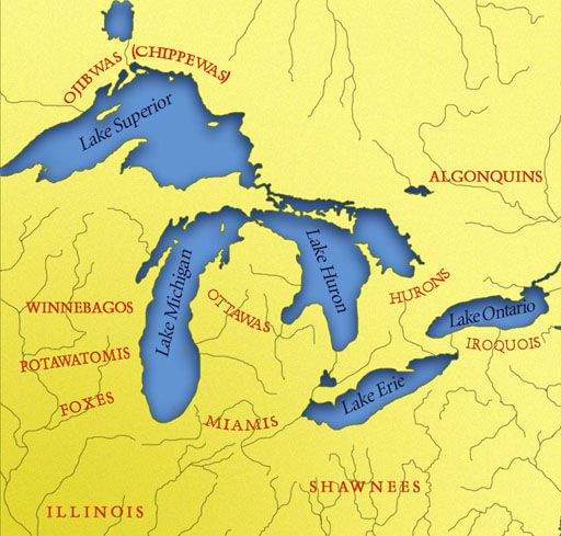 Map Showing Main Indian Groups in Contact with the French in the Great Lakes region