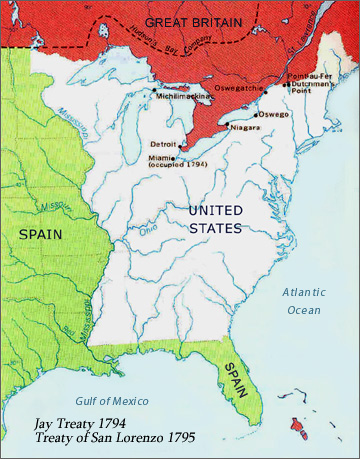 Map Showing Political Boundaries of North America in the 1790's
